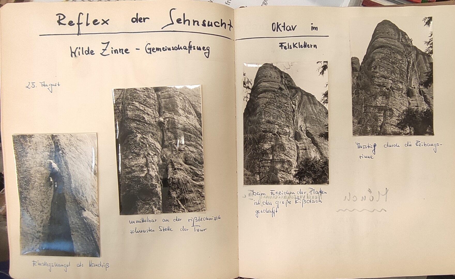 Bergfahrtenbuch mit Fotos der Besteigung Wilde Zinne - Gemeinschaftsweg