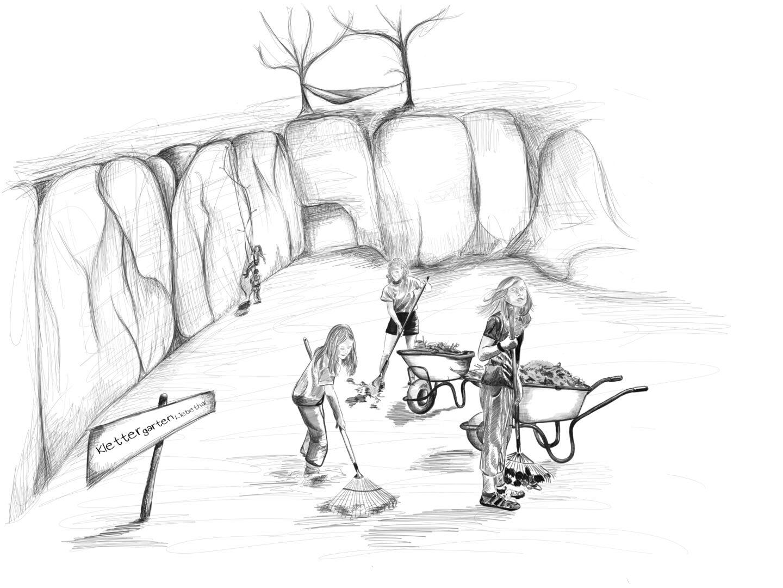 Klettergarten Liebethal: Drei Kids, die Laub Harken, im Hintergrund Kletterfelsenwand mit Kletterpaar und Bäume mit gespannter Hängematte
