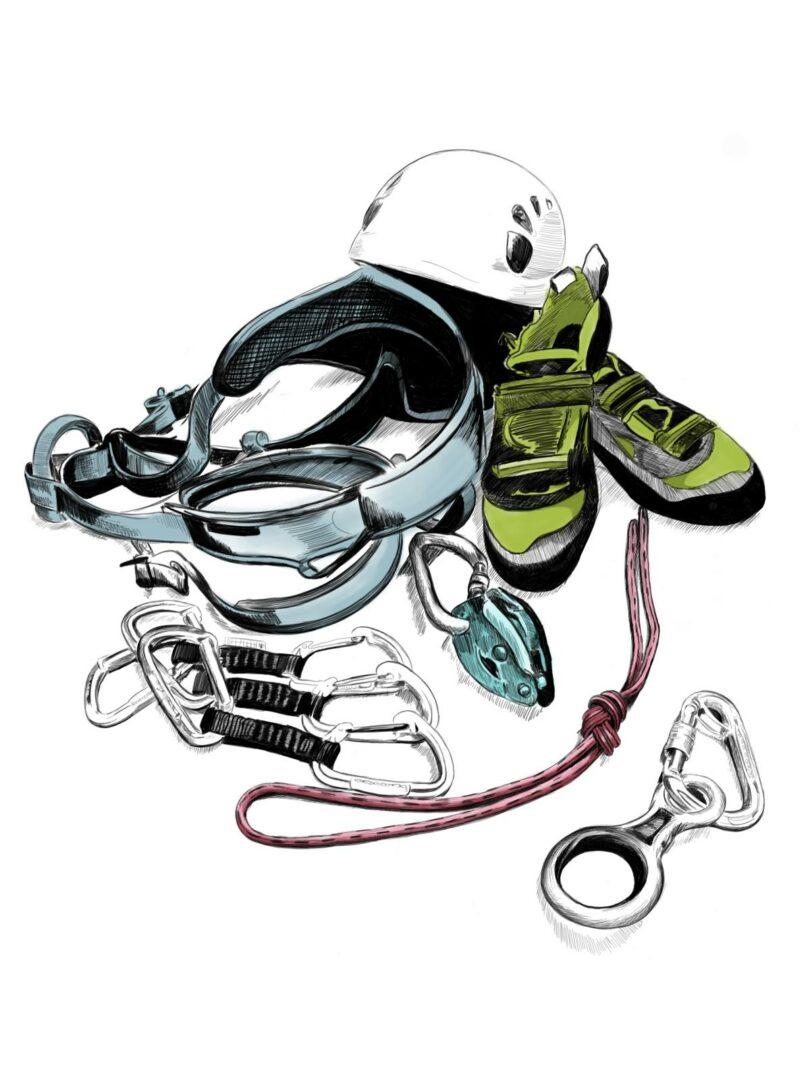 Zeichnung Klettermaterial: hellblauer Klettergurt, drei Exen, Helm, grüne Kletterschuhe, türkises Grigri, rosarote Schlinge mit Achterknoten, Abseilacht