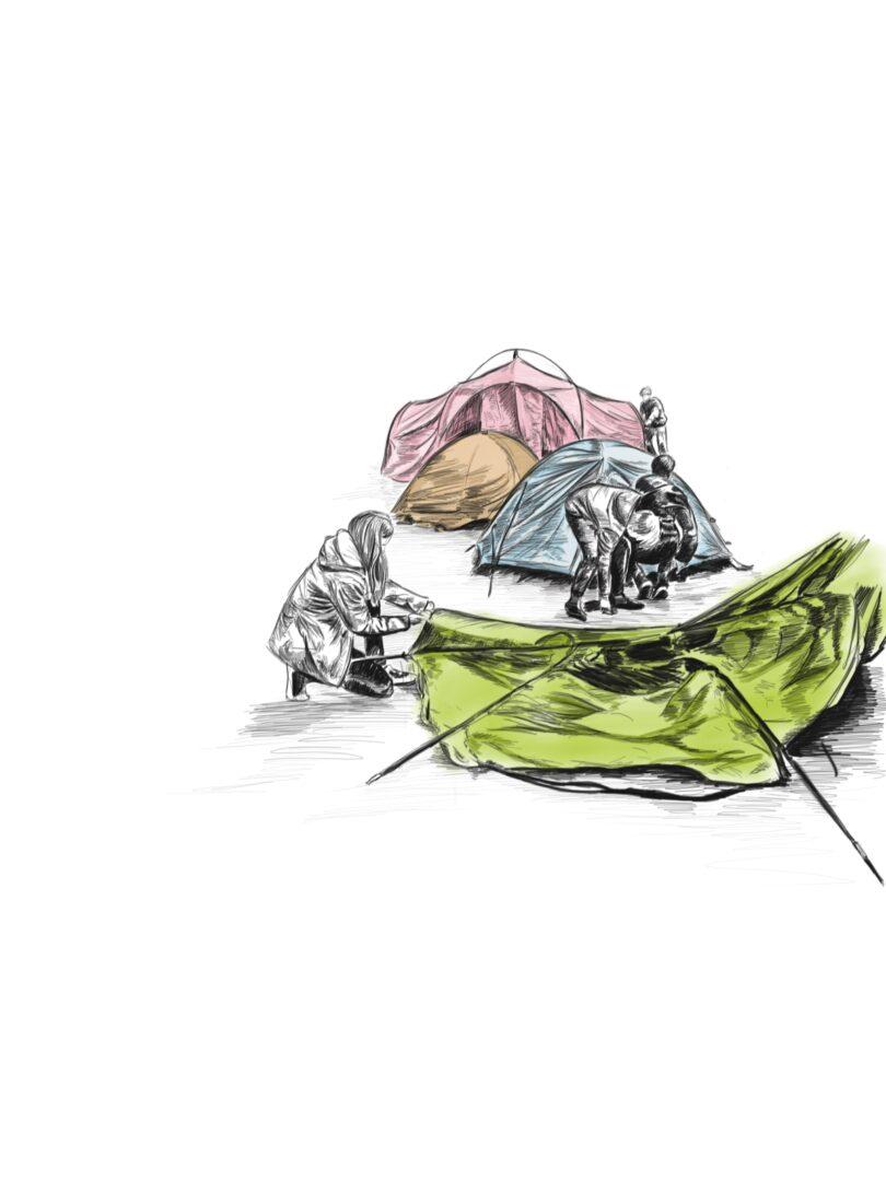 Zeichnung von drei fertig aufgebauten Zelte in Rose, Cremefarben und Himmelblau. Ein grasgrünes Zelt, was sich gerade im Aufbau befindet. Vier Kids, die Zelte aufbauen.